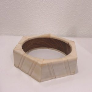 Vintage handmade carved bangle bracelet